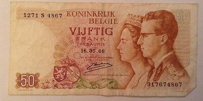 Belgium Banknote. 50 Francs. Dated 1966
