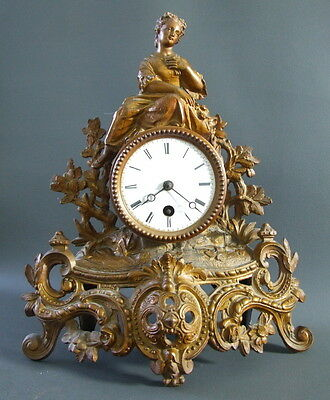 Antique ornate French gilt spelter mantel clock for restoration Pichon Thevenot