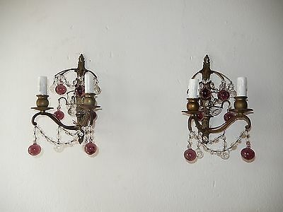 ~ Old French Crystal Swags Murano Amethyst & Clear Balls Bronze Sconces Vintage~