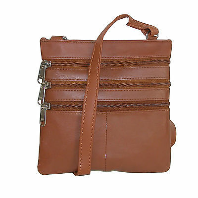 New CTM Women's Leather Multi Pocket Crossbody Bag