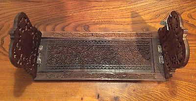 MAHOGANY SLIDING BOOK RACK ~ Decoratively Carved with Scrolling Flowers Leaves
