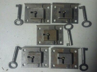 Lot of 5 Antique Corbin cabinet trunk lock with skeleton key new old stock
