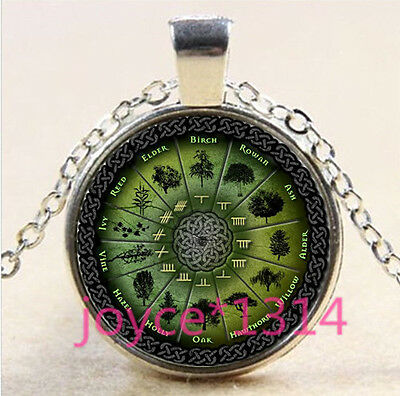 Celtic Wheel of the Plant Cabochon  silver Glass Chain Pendant Necklace #3196