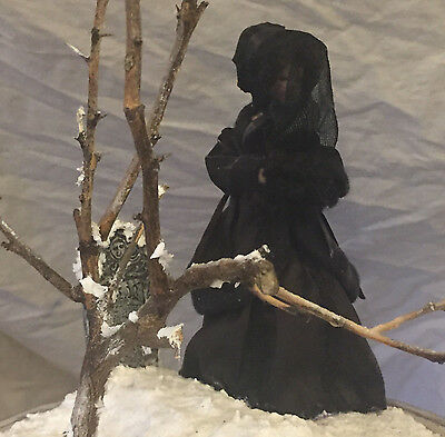OOAK Gothic Art Diorama In Dome - Woman In Mourning Beside a Grave - Snow Scene