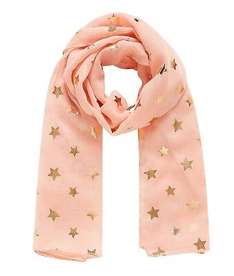 BNWT Mothercare Lightweight Pink Shiny Baby Girl Star Scarf