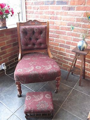 Edwardian library chair and matching footstool William Morris linen fabric