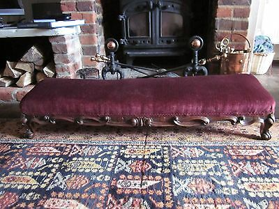 Beautiful Long victorian footstool newly reupholstered in red velvet