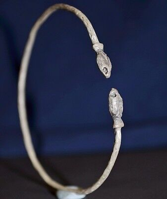 Ancient Roman Silver Bracelet. Bangle with 2 Snake Serpent Heads, ca 350 AD. VF