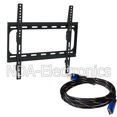 Fixed Metal TV Wall Mount Bracket Super Slim VESA 23 to 55 TV LED With 12FT HDMI