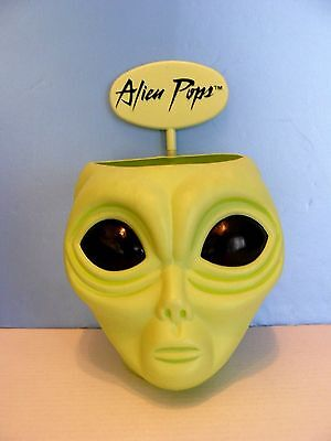 "Vtg. ALIEN POPS Candy Store COUNTER DISPLAY ROSWELL UFO HEAD -NO LID 13"" VINYL"
