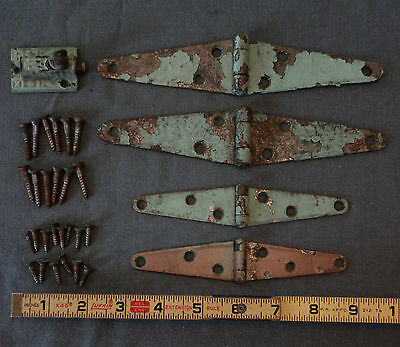 Antique Four Strap Hinges With Latch