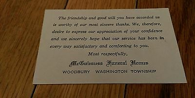 Vintage McGuinness Funeral Homes Woodbury Washington Township NJ Thank you Card