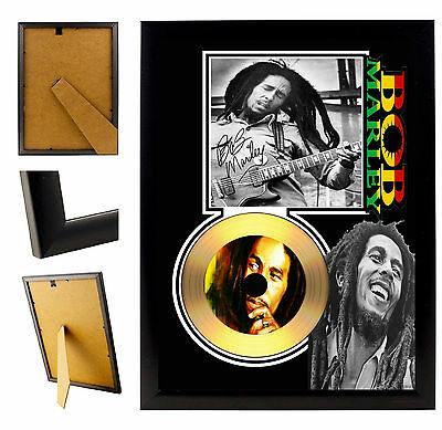 Bob Marley  - A4 Signed Framed Gold Vinyl Collectors Cd Display Picture