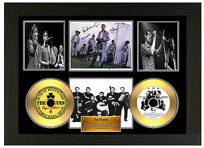 The Pogues - A3 Signed Framed Gold Vinyl Collectors Cd Display Picture