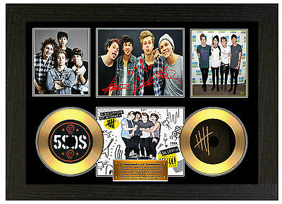 5 Seconds Of Summer Sos - A3 Signed Framed Gold Vinyl Picture Cd Display Disc