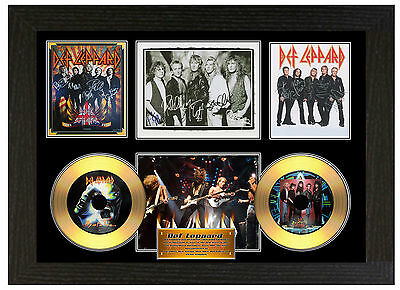 Def Leppard - A3 Signed Framed Gold Vinyl Collectors Cd Display Picture