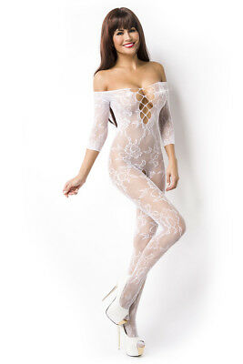 Body Stocking Netz Transparent Floral Muster Schulterfrei Weiß