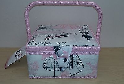 New-Hobby Gift-Small-Square-Sewing Box-Pretty Pink/Black/Grey Fashion Design