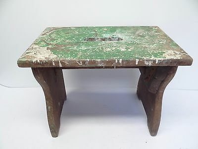 Antique Old Used Wood Wooden Brown Painted Garage Shop Footstool Foot Stool