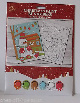Merry Christmas Paint Painting by Numbers - SNOWMAN DESIGN - kids xmas fun