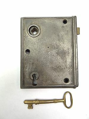 Antique Used Metal Iron Brass Door Deadbolt Lock Assembly & Brass Skeleton Key