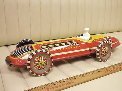 """1930s MARX Racer 12 Tin Toy Wind Up Indy Car 17"""" Long"""