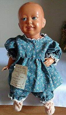 "Antique Rheinische Gummi Celluloid 12"" Baby Boy Doll Turtle Schutz Mark 32 Germa"