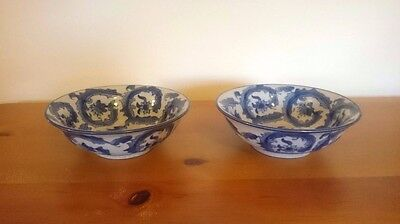 BEAUTIFUL PAIR OF  CHINESE ANTIQUE  BOWLS x  2 BLUE & WHITE