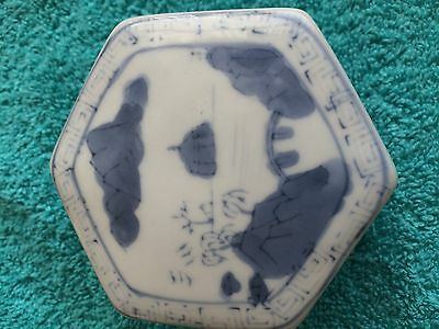 Vintage blue and white trinket box with lid