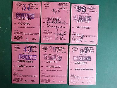 X6 2nd Class Weekly Season Tickets British Rail London From The 60s