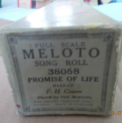 Vintage Pianola roll PROMISE OF LIFE. Ballad.  F.H. Cowen.  Meloto ref. 38058