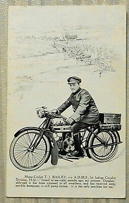 "DOUGLAS MOTOR CYCLE 5 ½""x 3 ¼"" Postcard Military Dispatch Rider c1917"