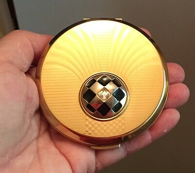UNUSED Sparkling Gold Tone Art Deco Style  STRATTON COMPACT,Made In ENGLAND