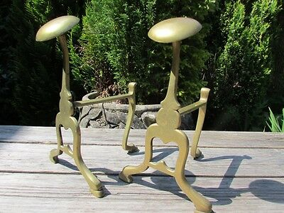Reclaimed Vintage / Antique Solid Brass Andirons / Fire Dogs
