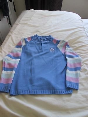 Girls Target Dry blue zip neck jumper, striped sleeves, age 11-12 100% cotton