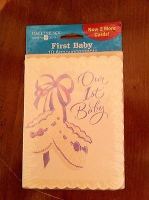 American Greetings Forget Me Not First Baby announcements new Our First 1st NIP