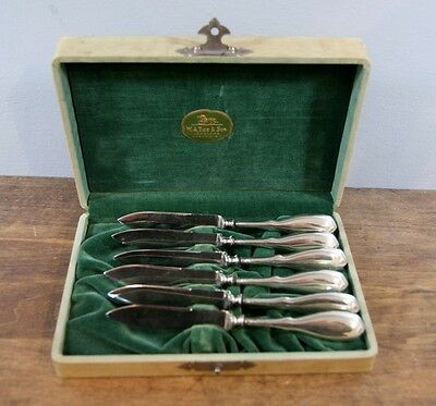 Set of 6 Sterling Silver Fruit / Paring Knives By Nussbaum & Hunold, Circa 1910