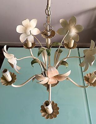 Vintage French Toleware 5 Lights Chandelier  Flowers & Leaves