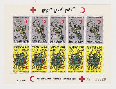 Morocco - SG MS 303/4 x 5 sheetlet - u/m - 1971 Red Crescent Jewellery