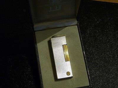 Dunhill Rollagas Lighter-Silver Plated Barley+Gold Accents- Excellent - Boxed