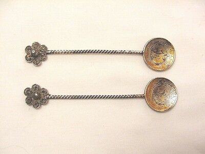 2 Old Coin Silver Salt Spoon 1929 Syria 10 Piastres Coin Twist Handle Filigree