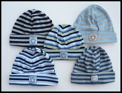 BOY 100% COTTON SPRING AUTUMN LIGHT HAT BLUE NAVY STRIPES STRIPED 1 2 3 Years