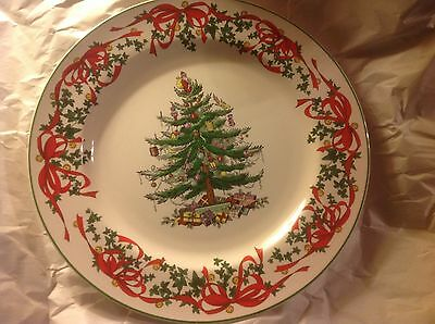 Spode Christmas Tree 12 inch buffet plate Red Ribbon NWT
