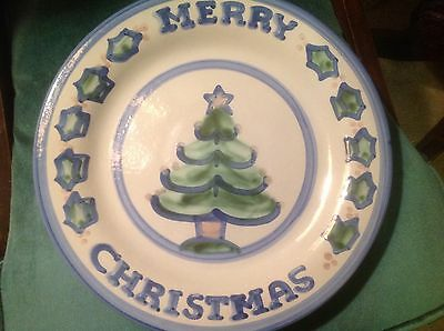 M A Hadley Merry Christmas Christmas tree large round serving platter /plate