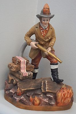 Famous Firsts 19Th Century Fireman Porcelain Whiskey Liquor Decanter - Very Rare