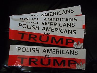 """30 New """"polish Americans For Trump"""" Bumper Stickers  In Red & White With Eagle"""