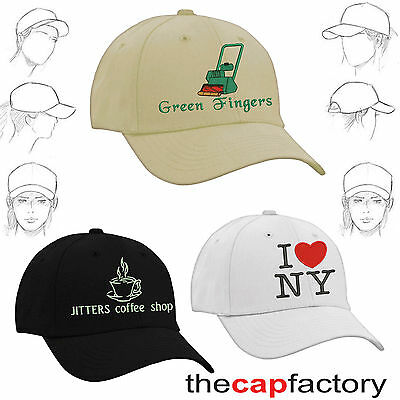Personalised embroidered baseball caps images text