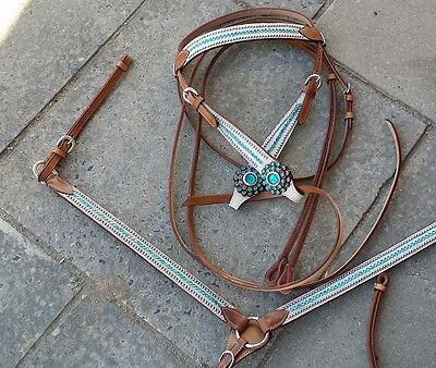Western turquoise white hide leather bridle split reins breastplate blue full