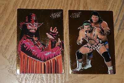 1994 WWF 24 Kt Gold Action Packed 2-Card Insert Randy Savage, Steiner Brothers