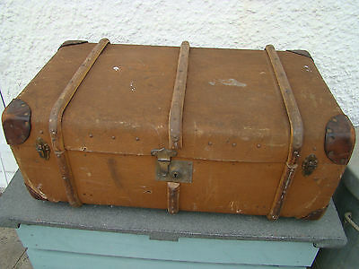 Vintage Antique Banded Steamer Trunk Storage Chest~Coffee Table